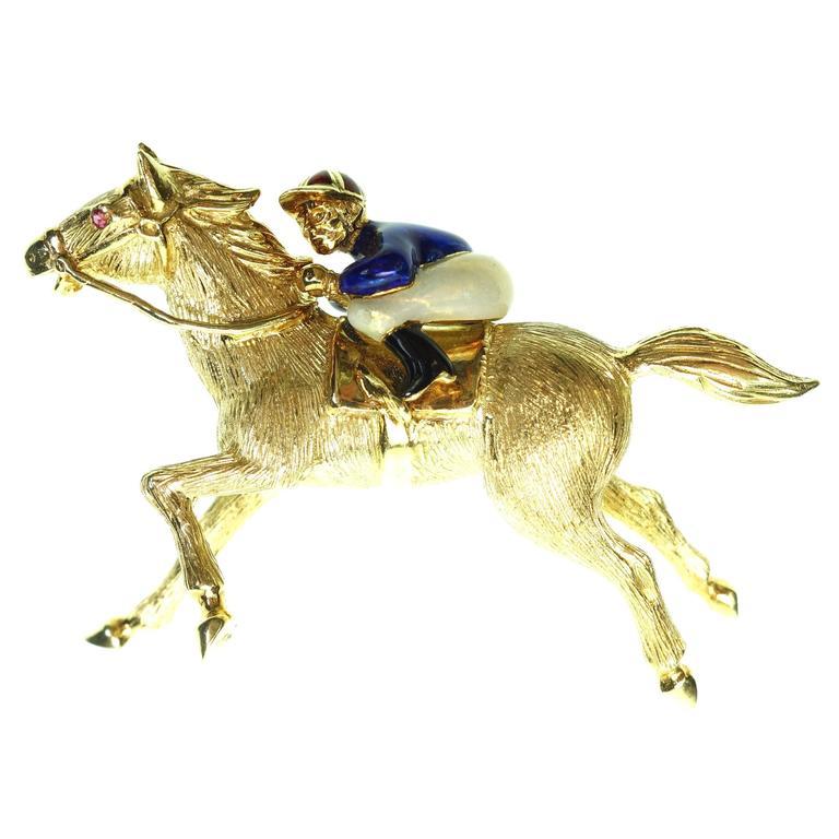 Large Enamel Gold Jockey and Horse Pin 1