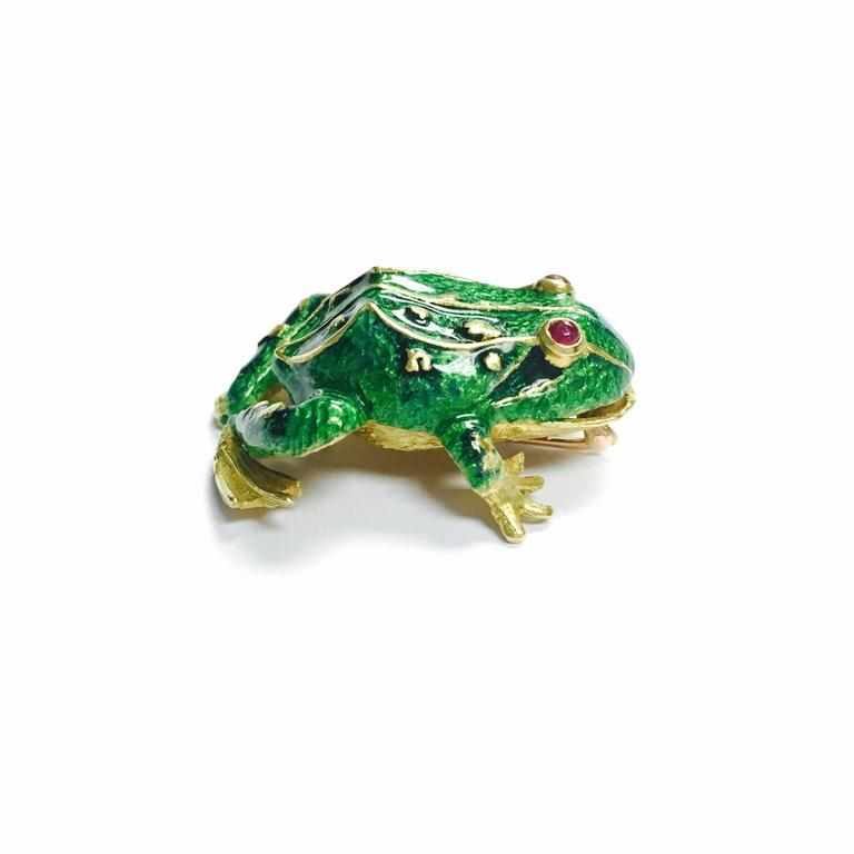 Enamel and Ruby Frog Brooch by Cheany 3