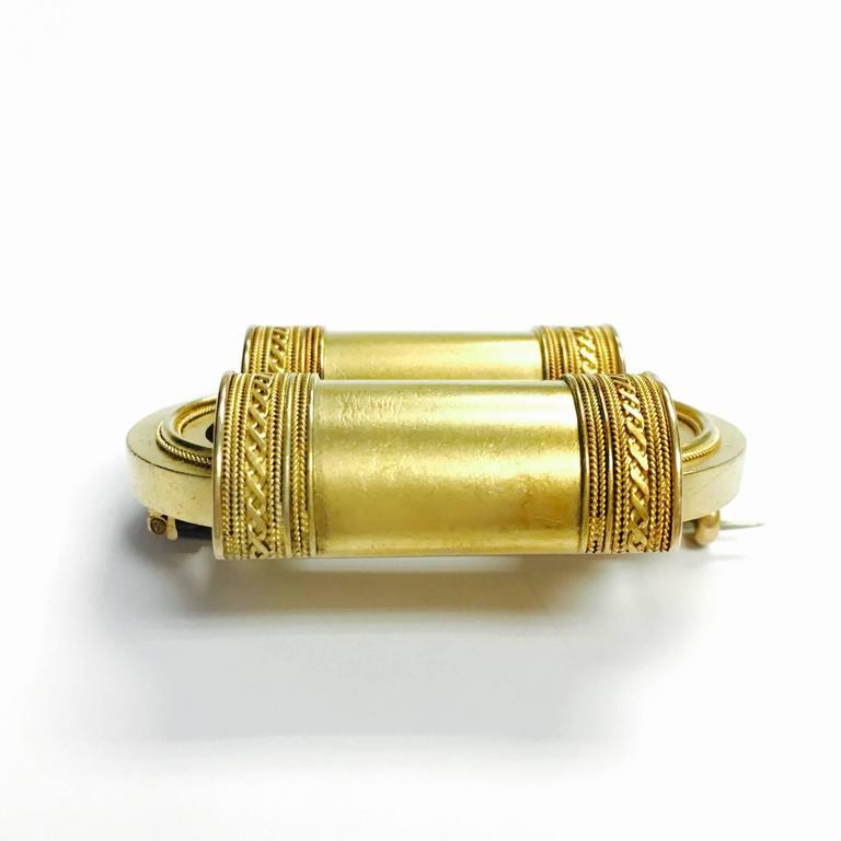 Etruscan Revival Large Gold Brooch 2