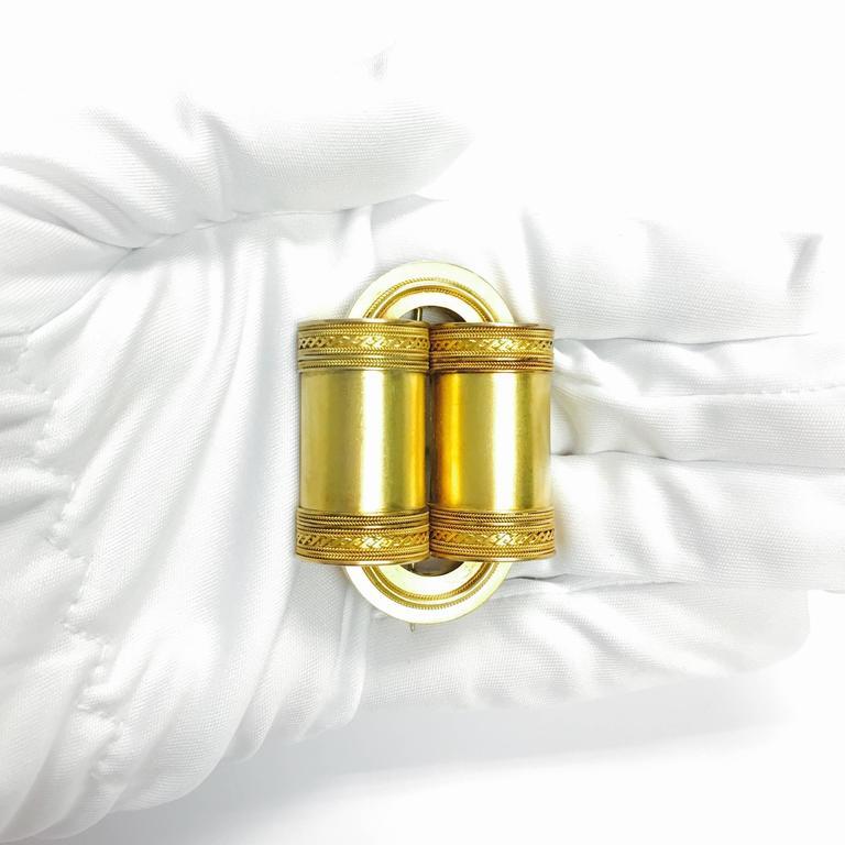 Etruscan Revival Large Gold Brooch 3