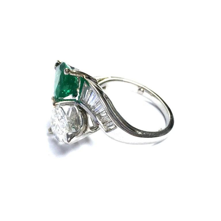 Gia Report Diamond Emerald Toi Et Moi Platinum Ring For