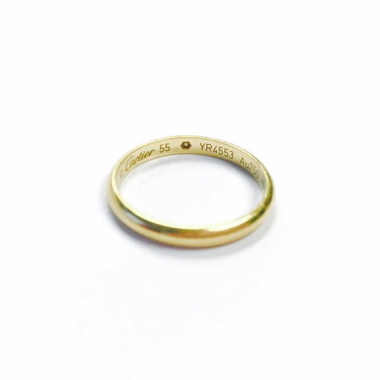 Women's or Men's Cartier Diamond Yellow Gold Dome Band Ring For Sale