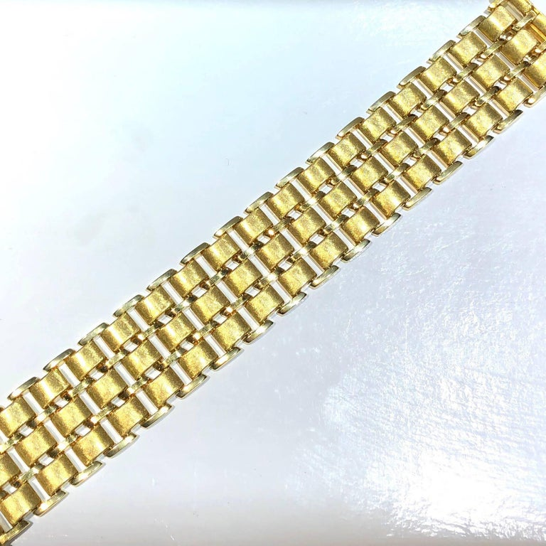 Vintage Wide Yellow Gold Bracelet In Excellent Condition For Sale In Agoura Hills, CA