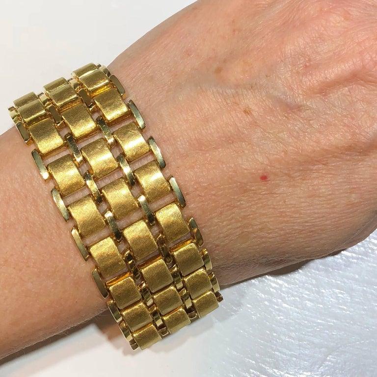 Women's or Men's Vintage Wide Yellow Gold Bracelet For Sale