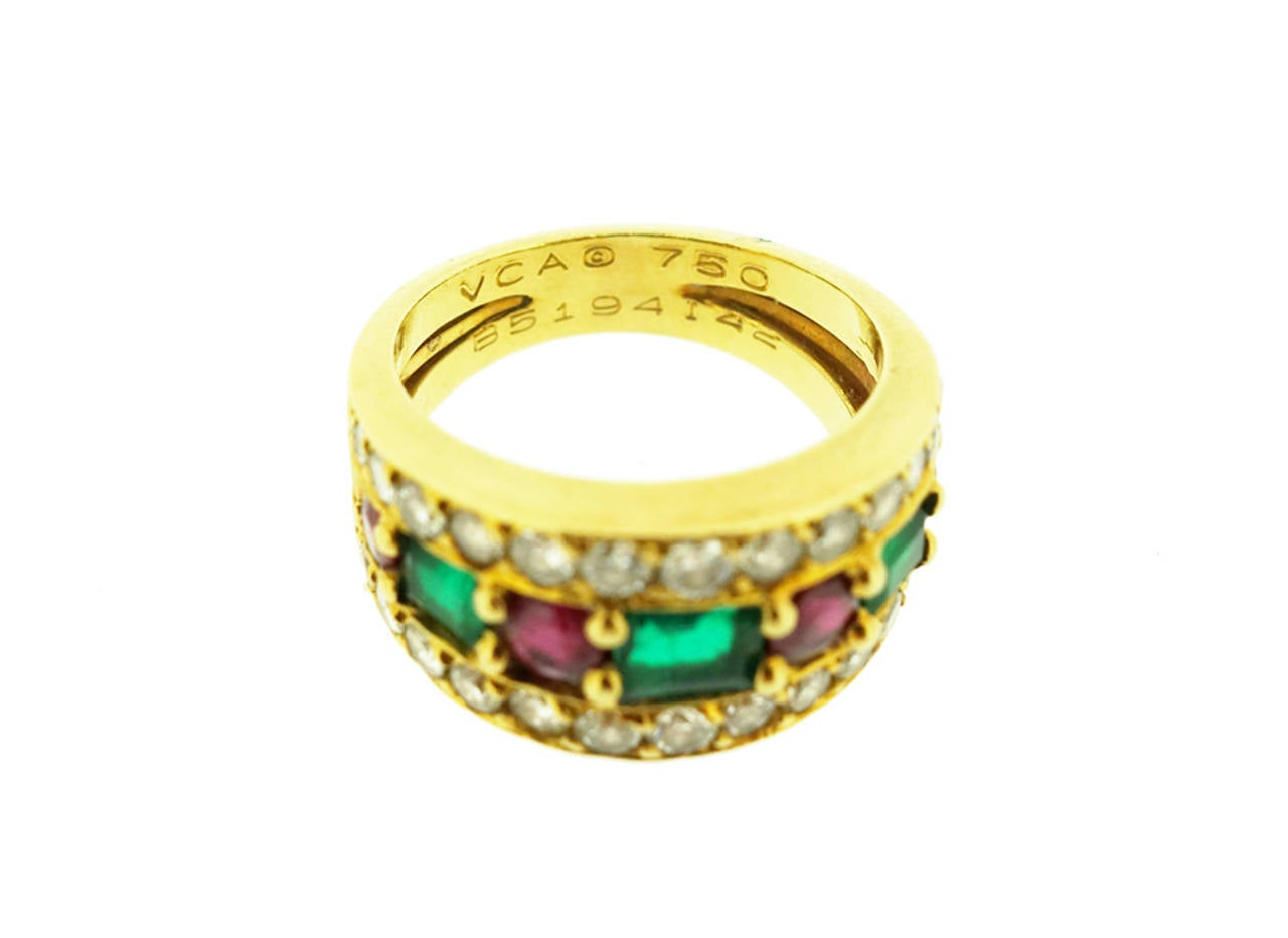 Contemporary Van Cleef & Arpels Emerald Ruby Diamond Gold Band Ring For Sale