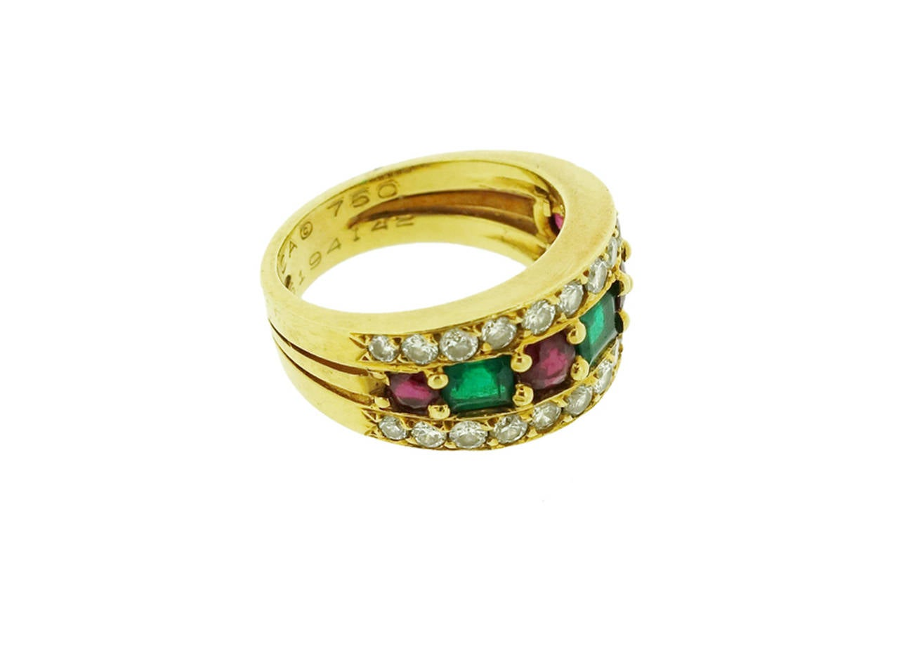 Van Cleef & Arpels Emerald Ruby Diamond Gold Band Ring For Sale 1