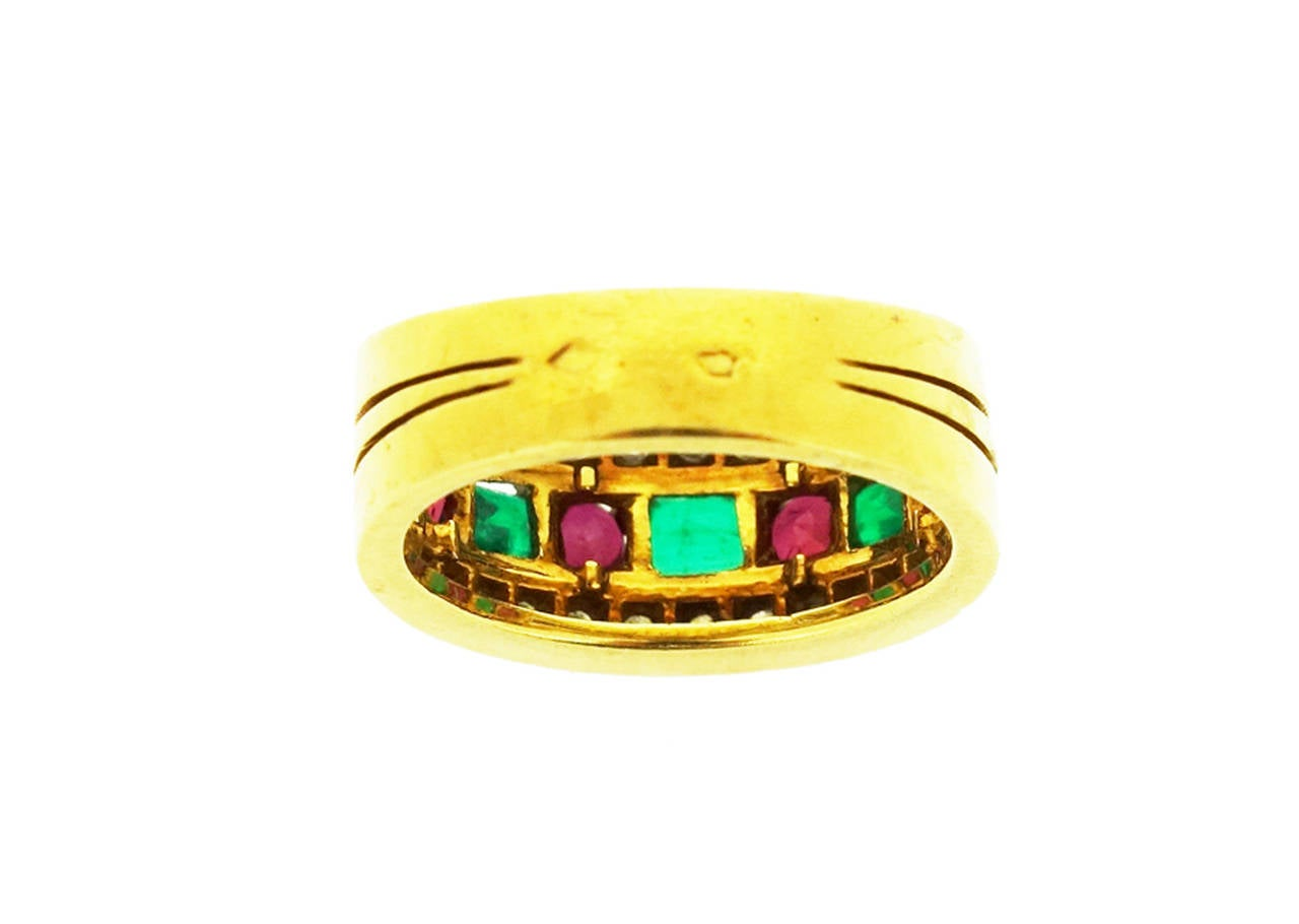 Van Cleef & Arpels Emerald Ruby Diamond Gold Band Ring For Sale 2