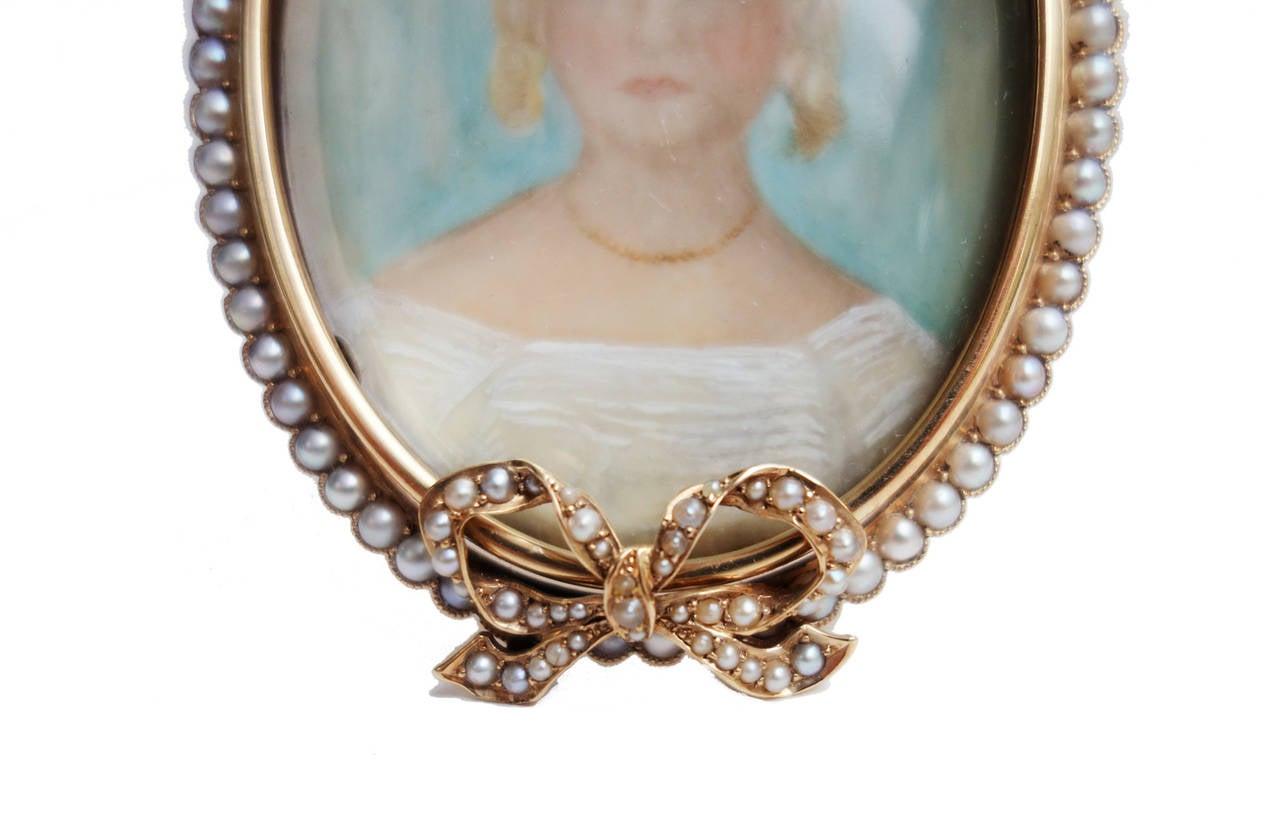 Antique Pearl Gold Portrait Miniature Picture Frame For Sale 1
