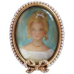 Antique Pearl Gold Portrait Miniature Picture Frame