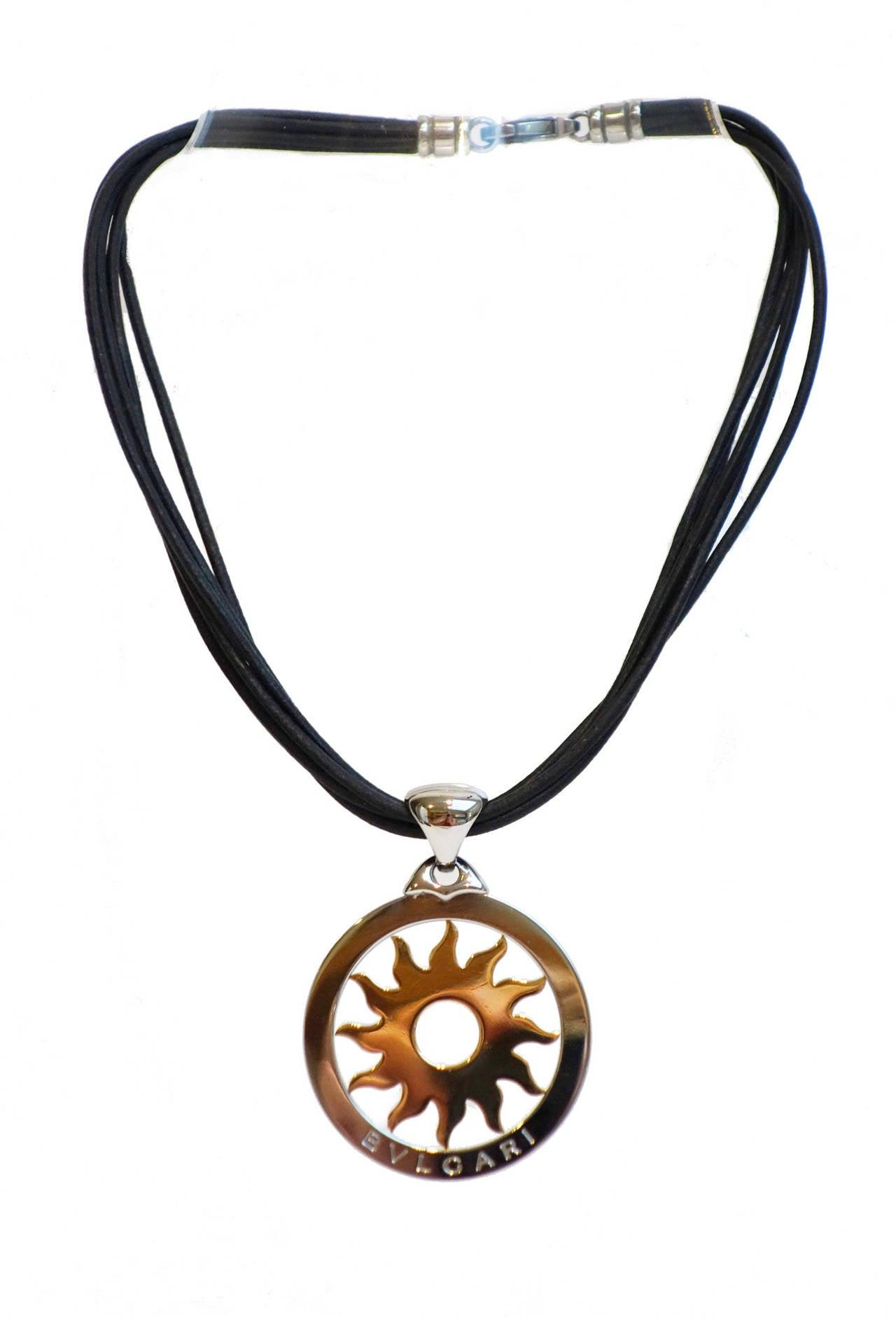 bulgari tondo stainless steel gold sun pendant necklace