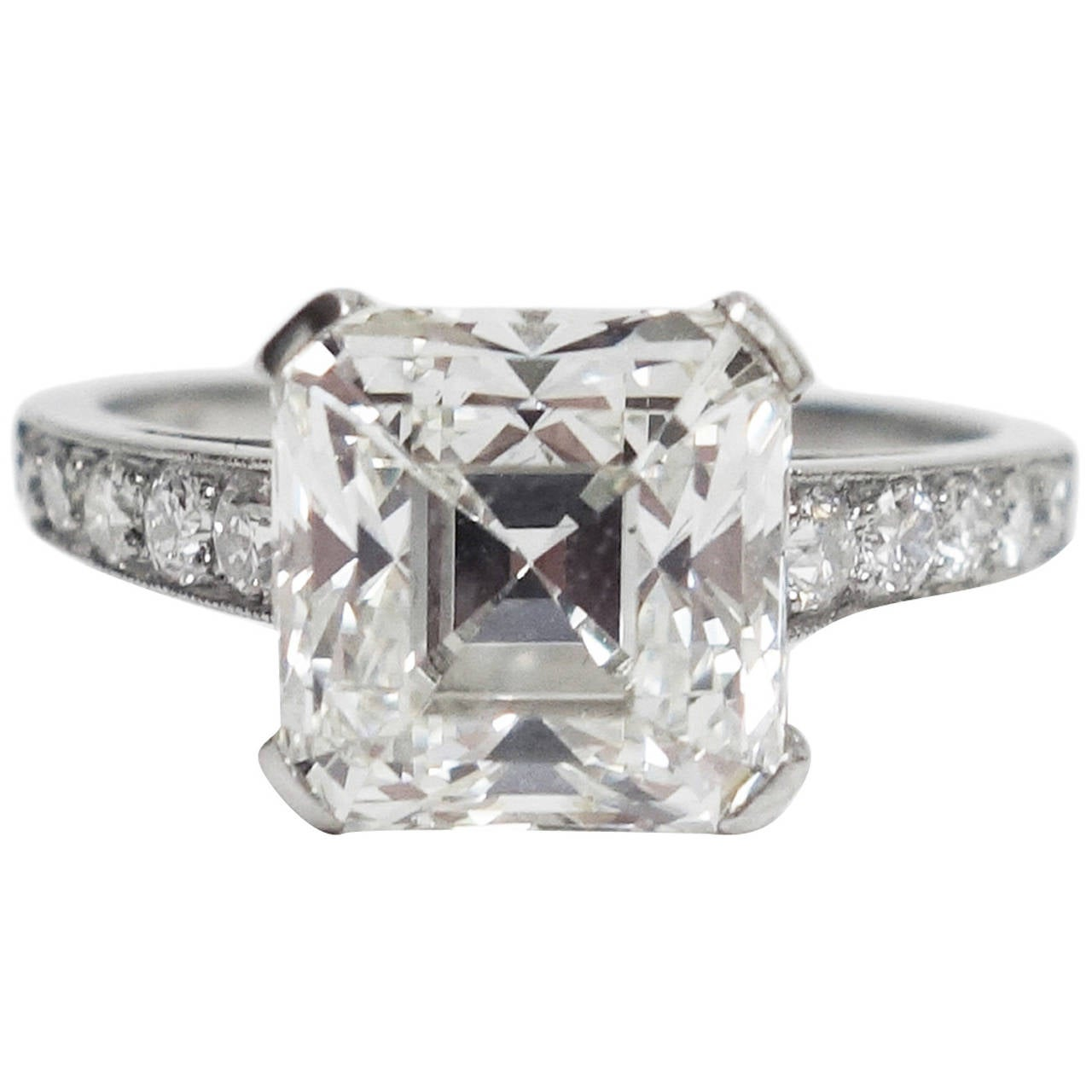 deco asscher cut cert 3 05 carat engagement ring at 1stdibs