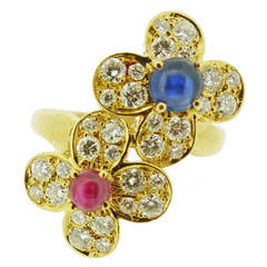 Van Cleef & Arpels Ruby Sapphire Diamond Gold Flower Cluster Ring