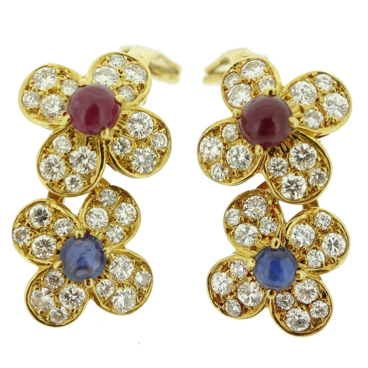 Van Cleef & Arpels Ruby Sapphire Diamond Gold Double Flower Earrings 1