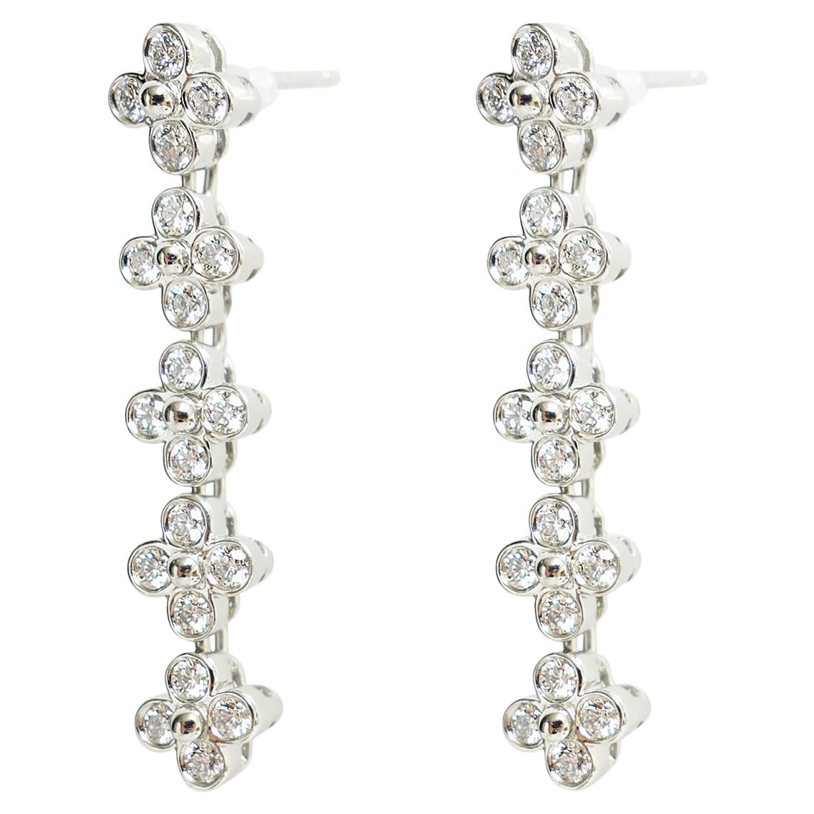 Tiffany & Co Diamond Platinum Lace Floral Dangle Earrings 1