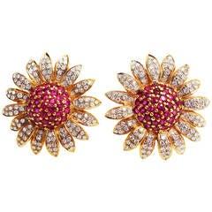 Large Ruby Diamond Gold Daisy Flower Earrings