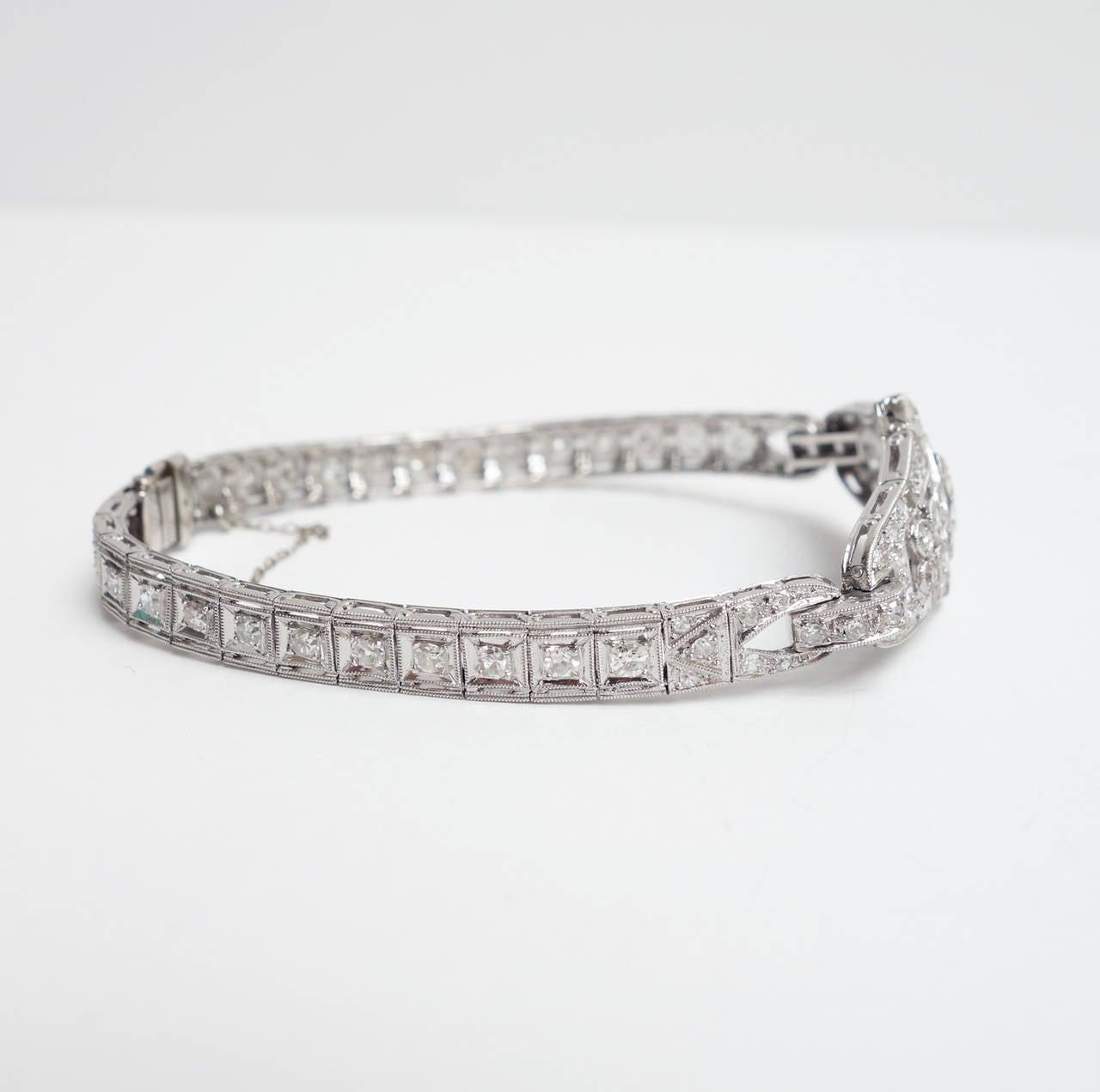 Art Deco Sapphire Diamond Platinum Bracelet 5