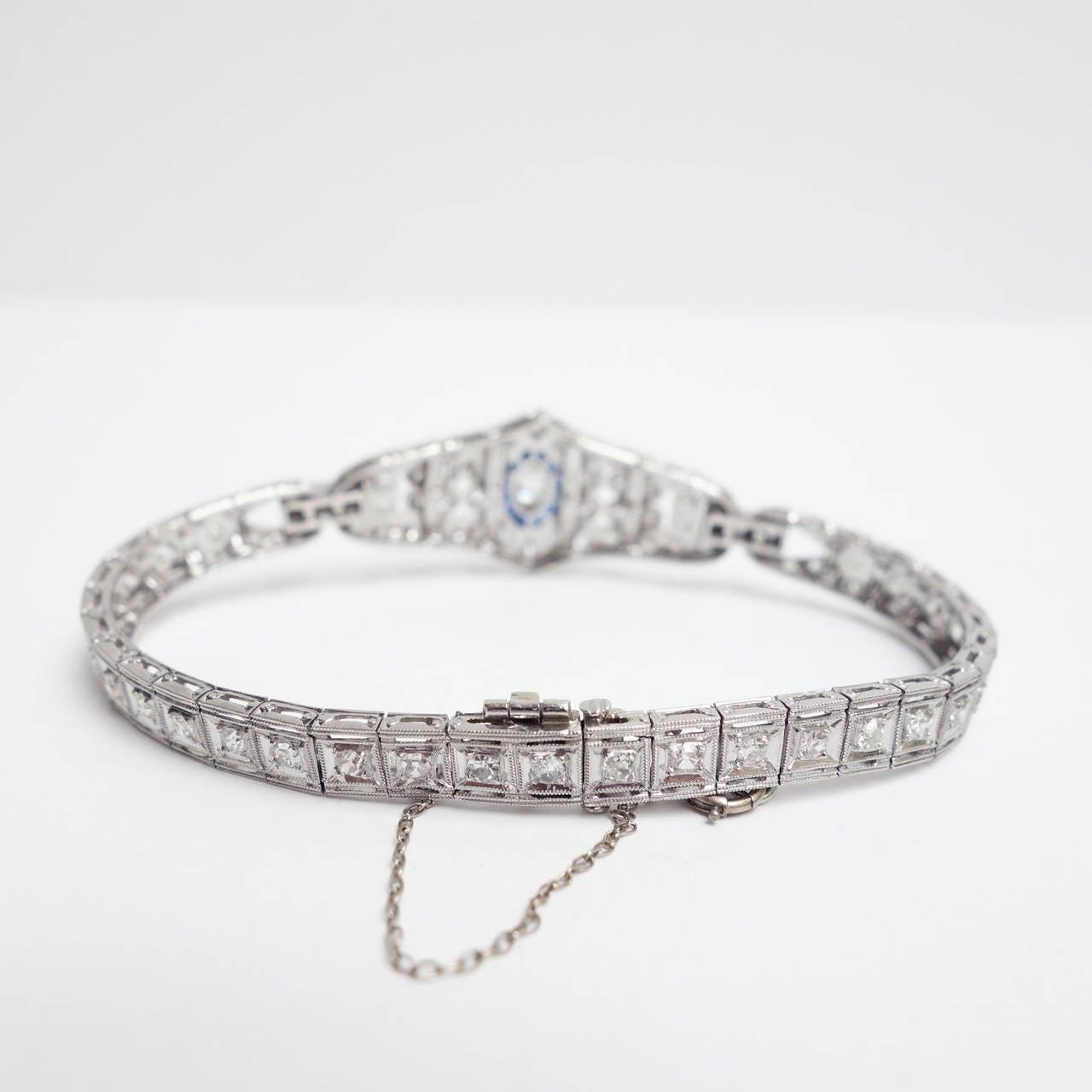 Art Deco Sapphire Diamond Platinum Bracelet 4