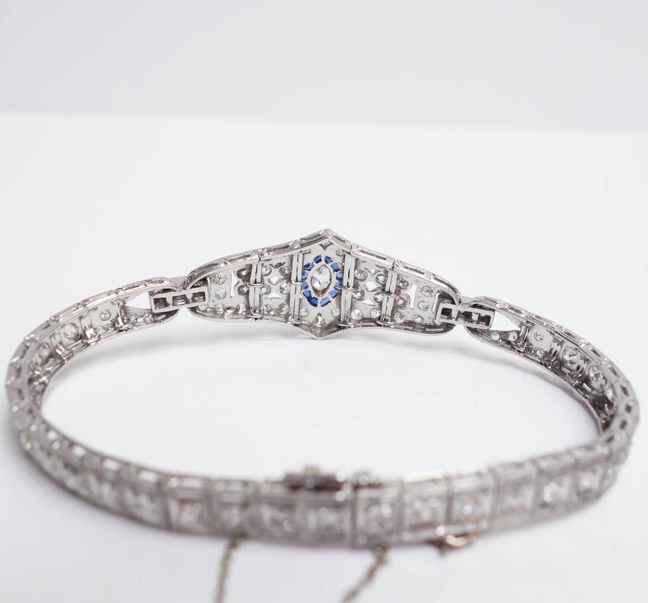 Art Deco Sapphire Diamond Platinum Bracelet 3