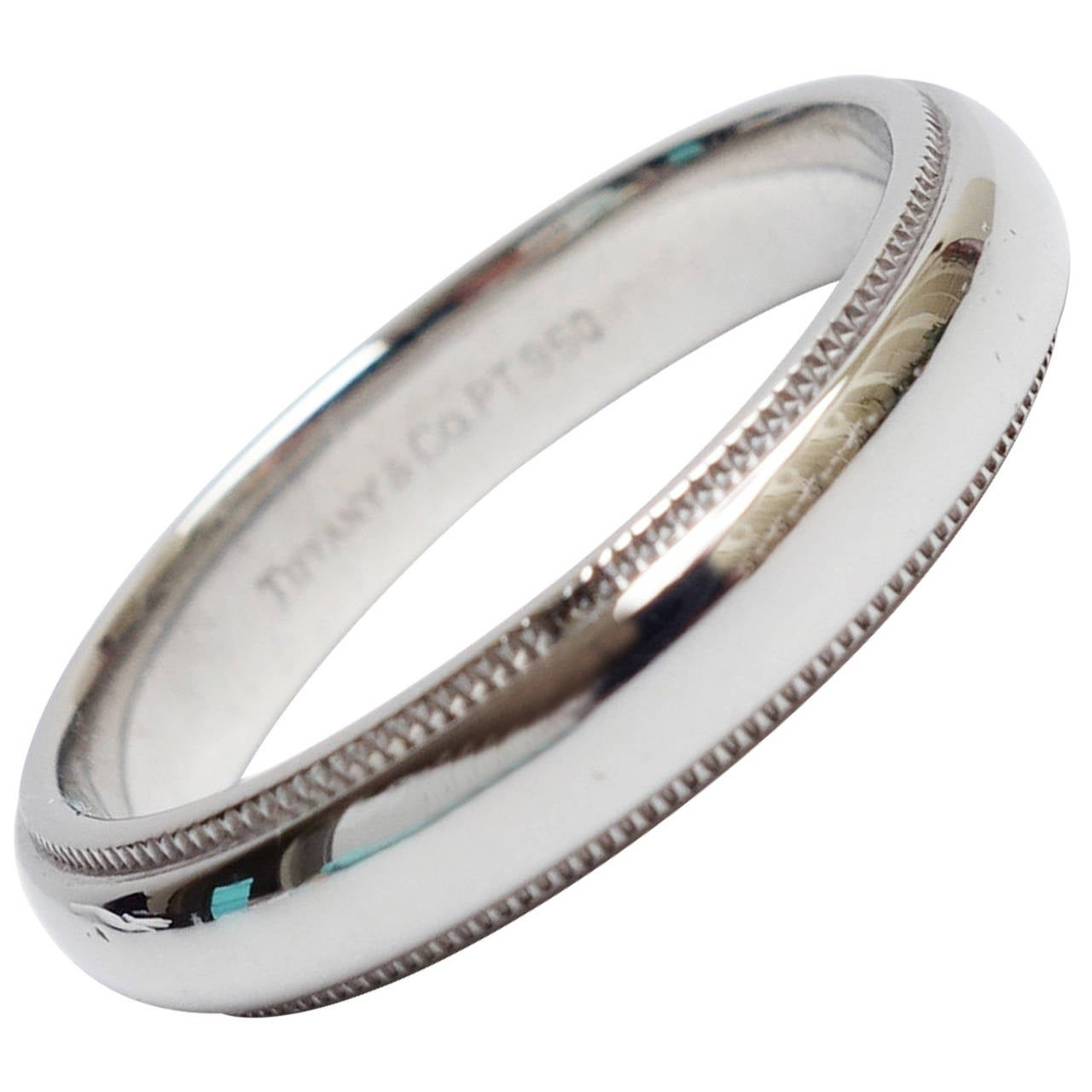 Tiffany And Co. Platinum Milgrain Wedding Band Ring At 1stdibs