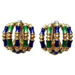 Tiffany & Co. Blue Green Enamel Gold Bamboo Earrings