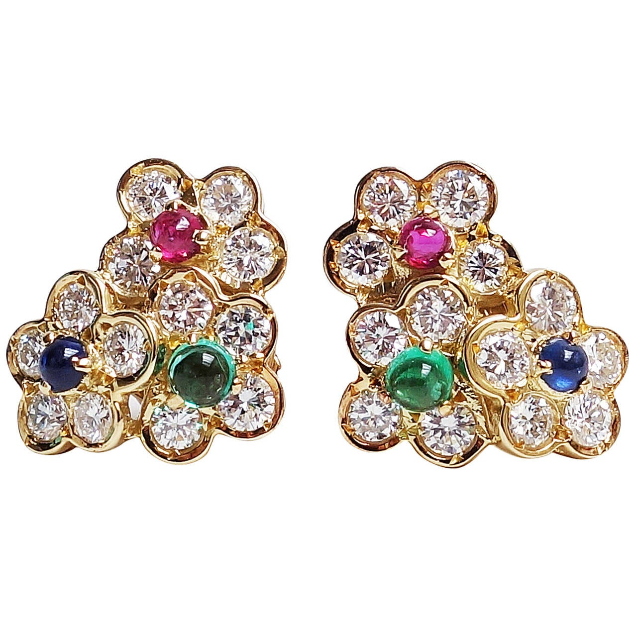 Van Cleef Arpels Emerald Ruby Shire Diamond Gold Flower Earrings For