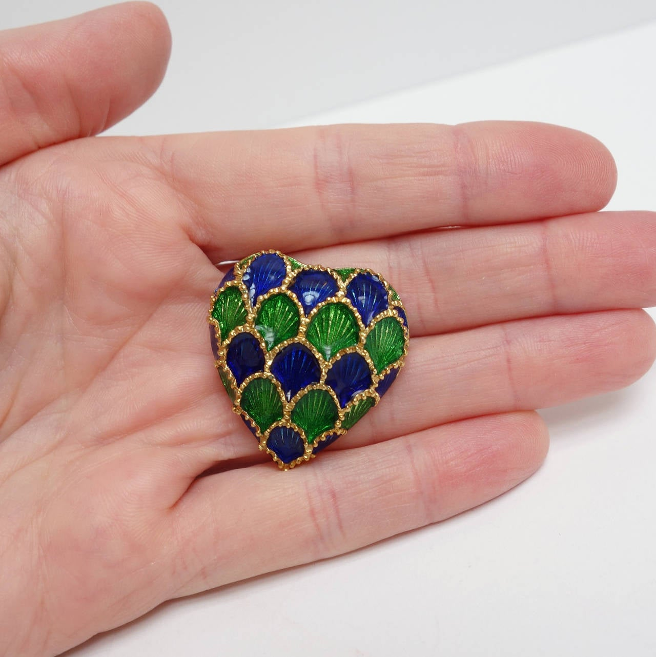 Women's Tiffany & Co. Blue and Green Enamel Gold Heart Pin Pendant For Sale