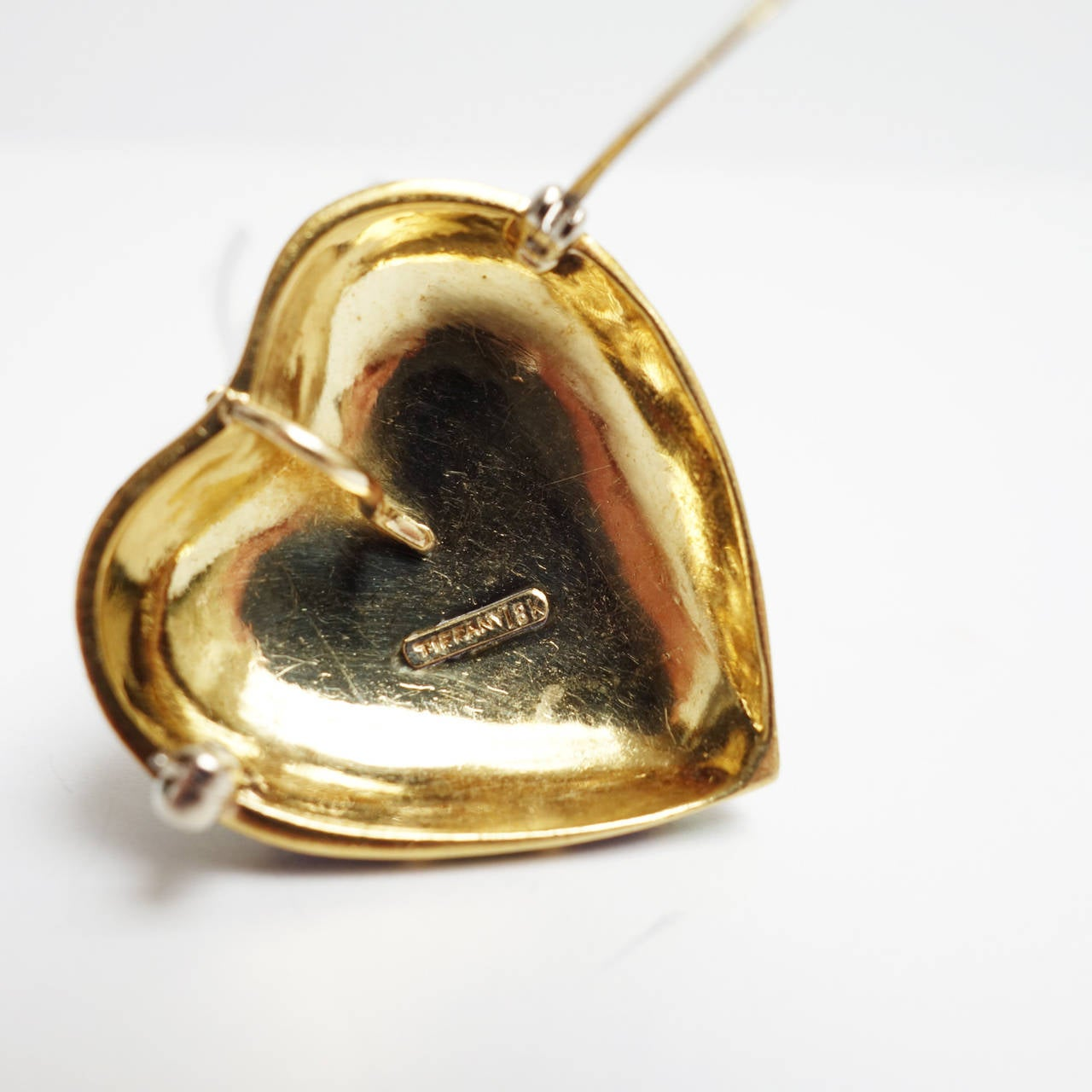 Tiffany & Co. Blue and Green Enamel Gold Heart Pin Pendant In Excellent Condition For Sale In Agoura Hills, CA