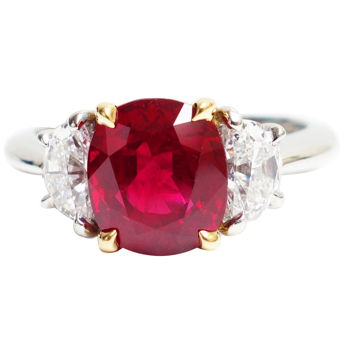 898dc062a Tiffany & Co. Burma Ruby Diamond Gold Platinum Three Stone Ring For Sale