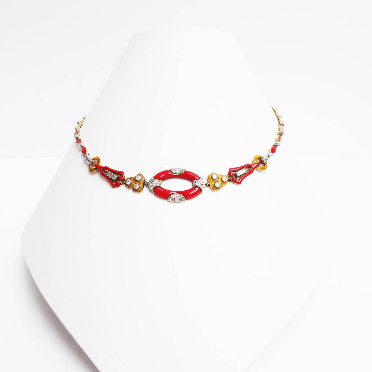 Art Deco Red Enamel Diamond Gold Platinum Necklace 2