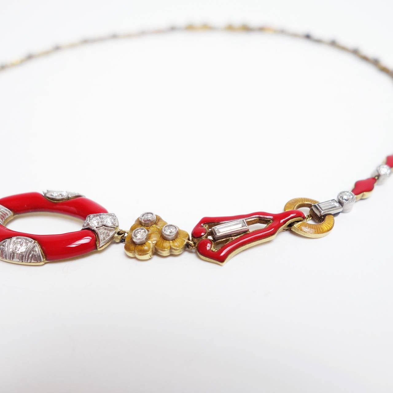 Art Deco Red Enamel Diamond Gold Platinum Necklace 4