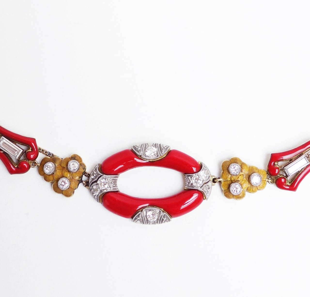 Art Deco Red Enamel Diamond Gold Platinum Necklace 3