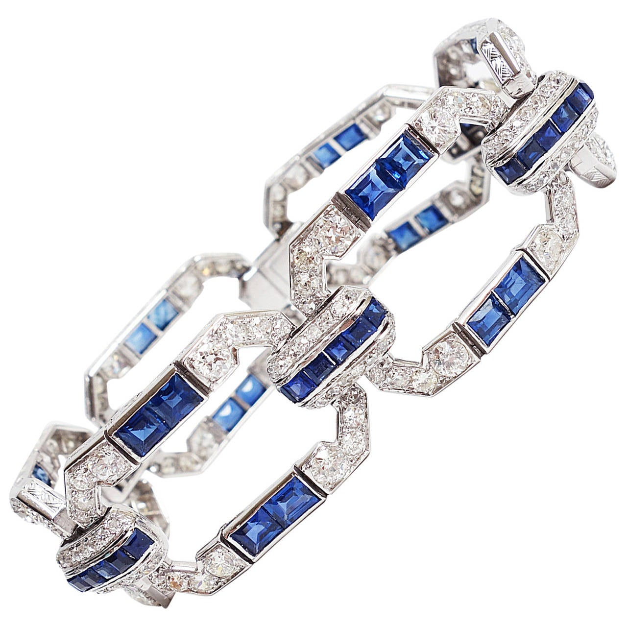 Magnificent Art Deco  Sapphire Diamond Platinum Bracelet