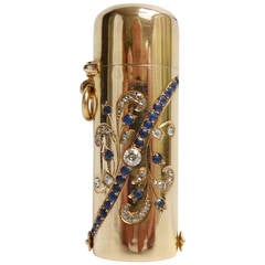 French Yellow Gold Diamond and Sapphire  Lipstick Case