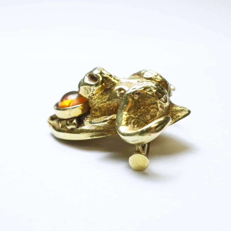 Art Nouveau Water Buffalo Opal Gold Brooch 2