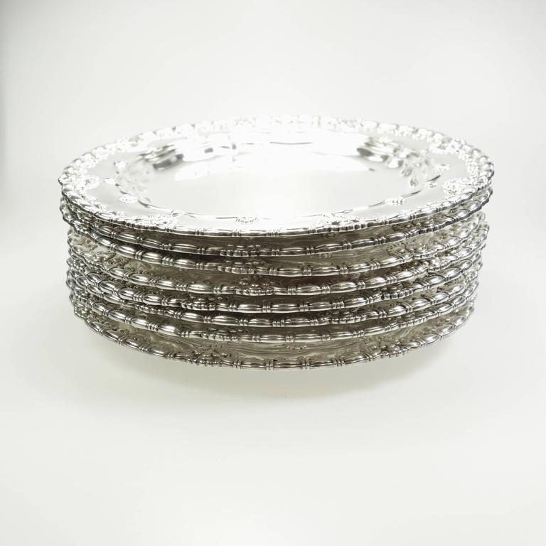 Tiffany & Co. Sterling Silver Plates Set of Ten, Circa 1905 In Excellent Condition For Sale In Agoura Hills, CA