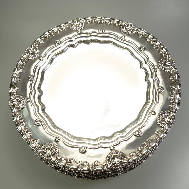 Women's or Men's Tiffany & Co. Sterling Silver Plates Set of Ten, Circa 1905 For Sale