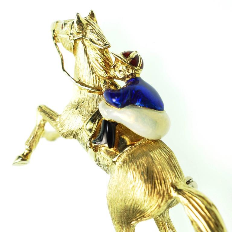 Large Enamel Gold Jockey and Horse Pin 2