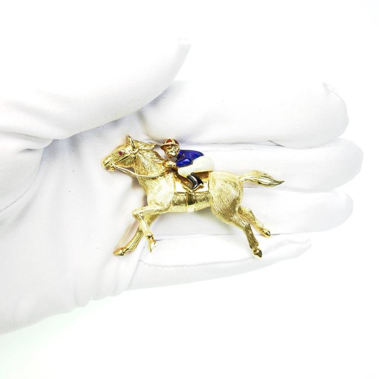 Large Enamel Gold Jockey and Horse Pin 4