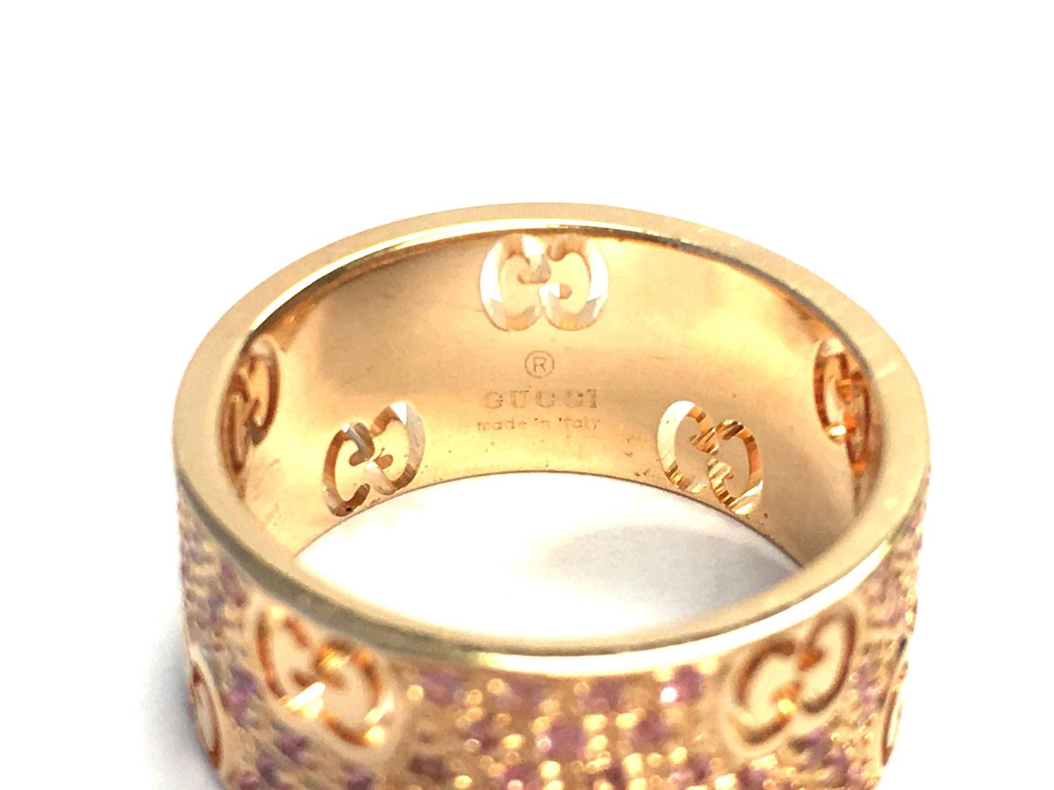 Gucci Icon Stardust Pink Sapphires Rose Gold Band Ring For
