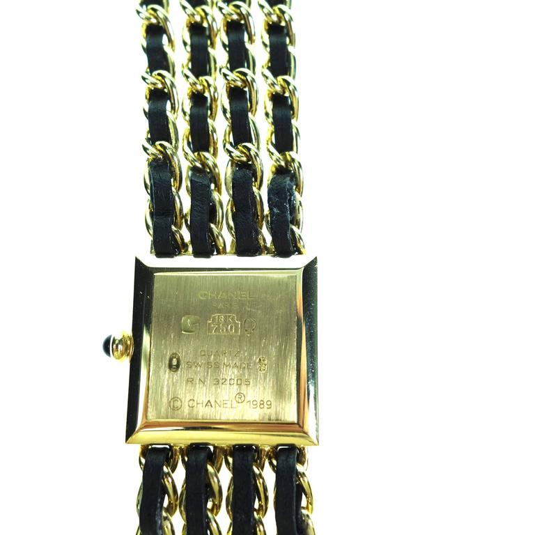 Chanel Ladies Yellow Gold Leather Mademoiselle Quartz Wristwatch In Excellent Condition For Sale In Agoura Hills, CA