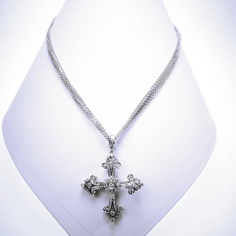 Lauren k large diamond gold maltese cross pendant enhancer necklace amazing 18k white gold maltese diamond cross pendant enhancer from lauren ks collection there are mozeypictures Image collections