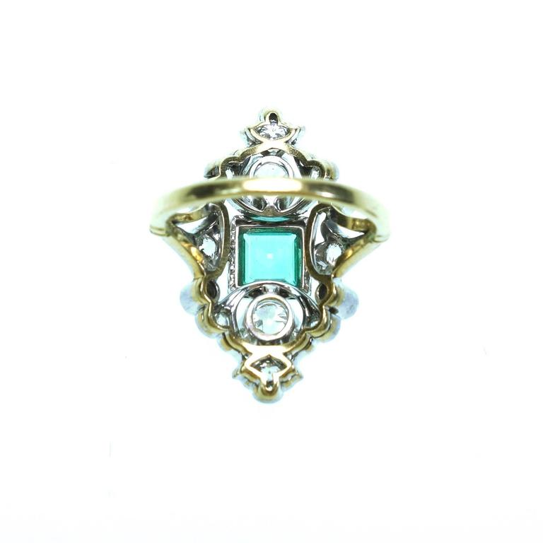Antique Emerald Diamond Gold Platinum Ring  In Excellent Condition For Sale In Agoura Hills, CA