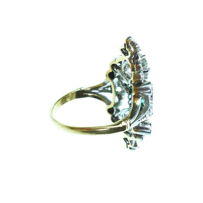Women's Antique Emerald Diamond Gold Platinum Ring  For Sale