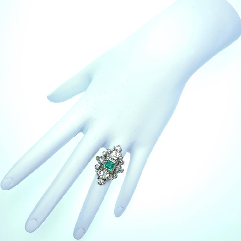 Antique Emerald Diamond Gold Platinum Ring  For Sale 1