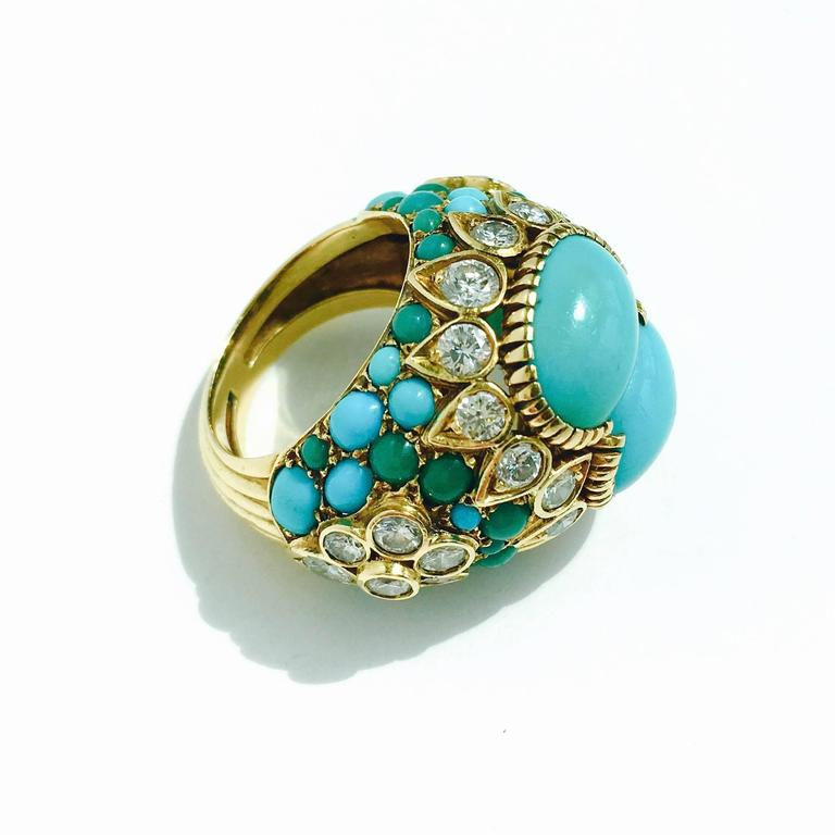 1960s Cartier Turquoise Diamond Gold Ring At 1stdibs