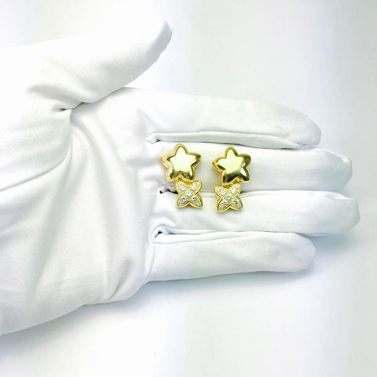 Van Cleef & Arpels Stars Diamond Gold Earrings and Brooch 7