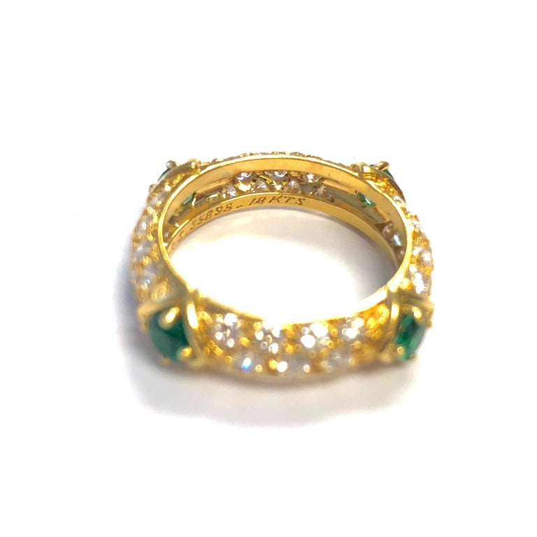 Mauboussin Diamond and Emerald Yellow Gold Eternity Band In Excellent Condition For Sale In Agoura Hills, CA