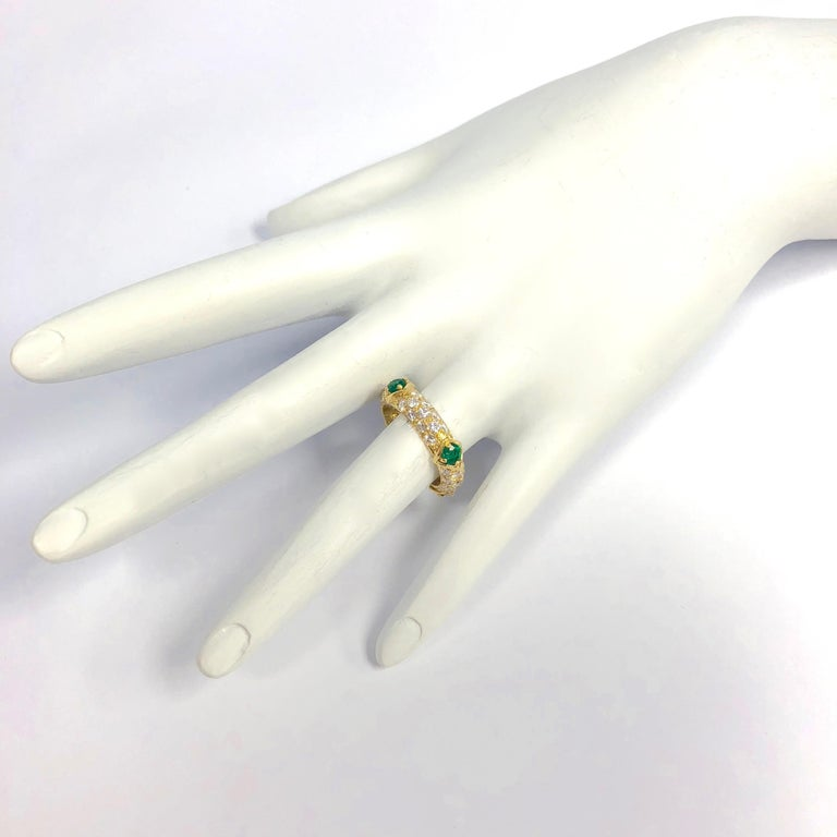 Mauboussin Diamond and Emerald Yellow Gold Eternity Band For Sale 3