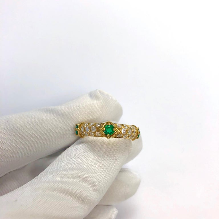 Mauboussin Diamond and Emerald Yellow Gold Eternity Band For Sale 4