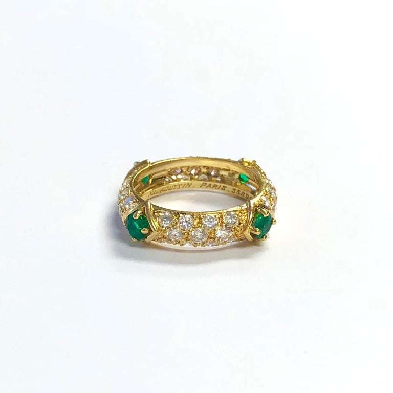 Women's Mauboussin Diamond and Emerald Yellow Gold Eternity Band For Sale